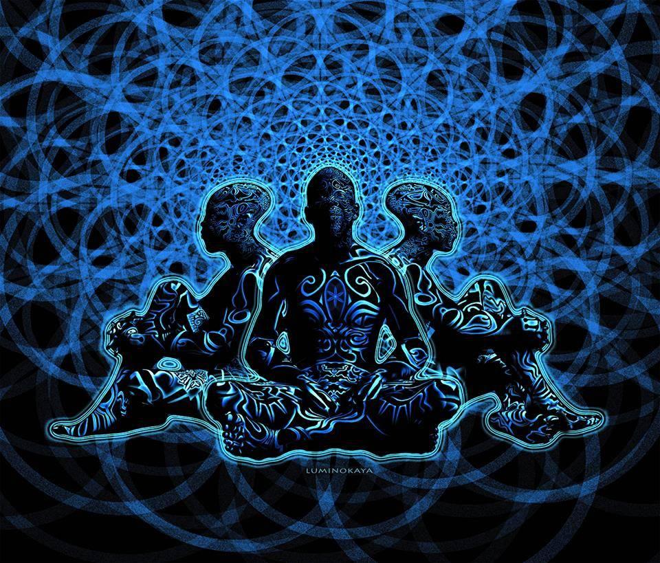Psychedelic art by Luminokaya people sit