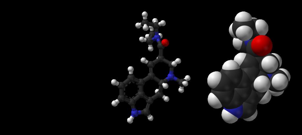 LSD-2D-skeletal-formula-and-3D-models