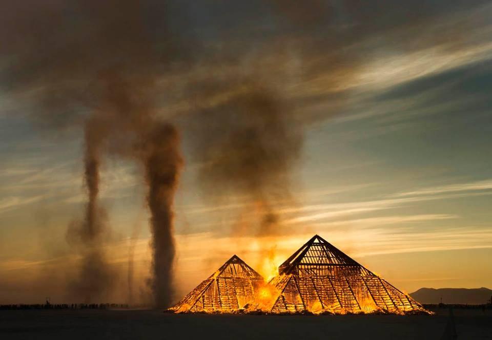 rick-egan burning man, burning pyramid
