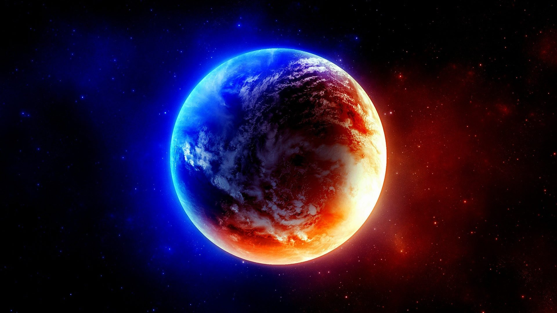 Red And Blue Planet Hd Wallpaper 1920x1080 Trancentral